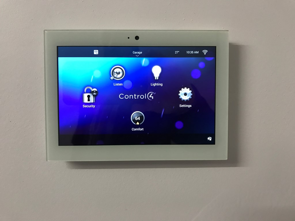 This installation includes many different ways to control the house including iPhone/iPad, remote control, and easy to use touch screens throughout the house.