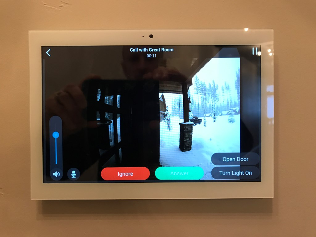 Intercom from the door station shows video on the touch screen, allows you to have a conversation with someone at the door as well as unlock a door or open a garage to let someone in. This can also work remotely from your phone from anywhere in the world!