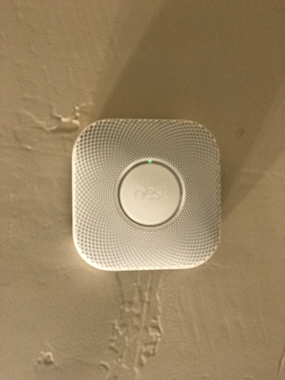 Nest thermostats are integrated here and turn on the lighting for exits in the event of a fire or carbon monoxide alert.
